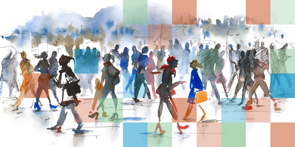 illustration of crowded street